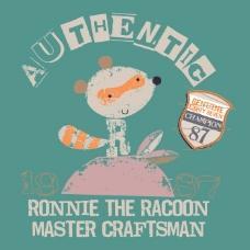 印花矢量图 T恤图案 图文结合 卡通动物 狸猫 免费素材