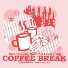 印花矢量图 图文结合 文字 英文 咖啡杯 免费素材