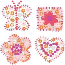 印花矢量图 女童 卡通元素 花 蝴蝶 免费素材