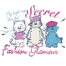 印花矢量图 女童 T恤图案 可爱卡通 动物 免费素材