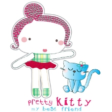 印花矢量图 女童 可爱卡通 T恤图案 贴布 免费素材