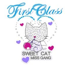 印花矢量图 女童 可爱卡通 卡通动物 猫 免费素材