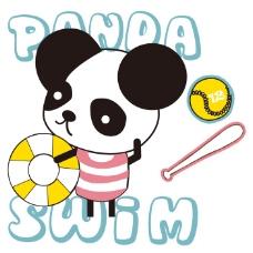 印花矢量图 女童 可爱卡通 动物 小熊猫 免费素材
