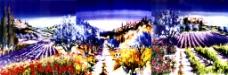 无框画 三联抽象雪山画