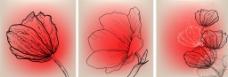无框画 三联画花朵