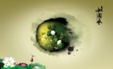 荷花蜻蜓墨跡中國風圖片