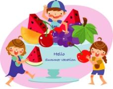 孩子和水果