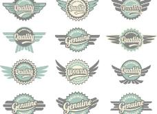 创意翼标签矢量素材