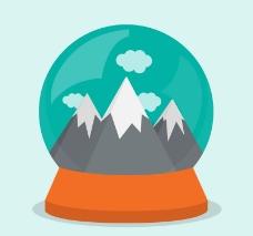 雪山风景玻璃球矢量素材