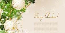 圣诞树上的装饰品矢量背景