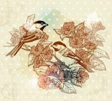 鲜花背景古怪的鸟