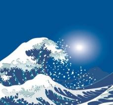 4个生动的海洋波矢量的场景