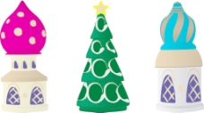 一三的俄罗斯圣诞树上的装饰品在白色背景矢量插画