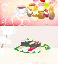 寿司和糕点咖啡矢量素材