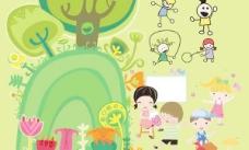 可爱的儿童插画矢量素材
