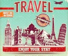 复古风格的旅行海报设计矢量图05