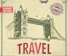 复古风格的旅行海报设计矢量图03