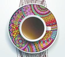 民族图案装饰和咖啡杯矢量01
