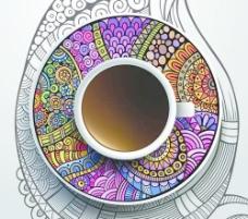 民族图案装饰和咖啡杯矢量02