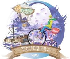 飞上月球加拿大自行车品牌插画矢量旅客福国际自行车旧自行车