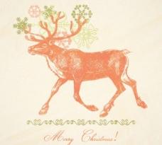 圣诞麋鹿04矢量插画