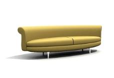 黄金色圆弧沙发家居家具装饰素材
