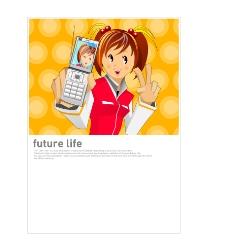 卡通人物手机展示
