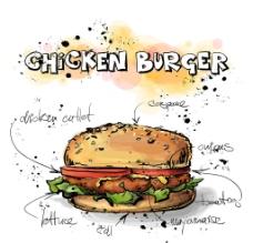 漢堡餐飲快餐圖片