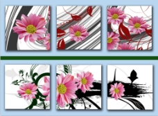 花卉三联无框画