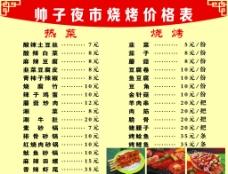 饭铺价目表图片