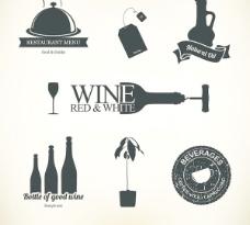 酒和食物矢量设计元素