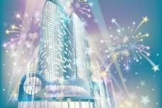 璀璨城市建筑夜景矢量素材