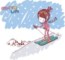 时尚女孩滑雪图片