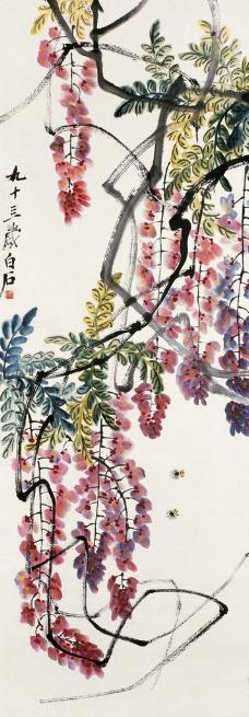 紫藤双蜂图片