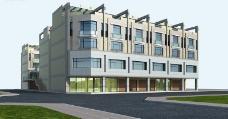 现代临街商品楼建筑3d效果图