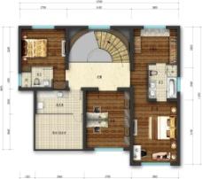 别墅顶层户型图彩平图片